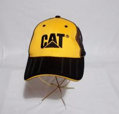 d112c0ab531 CAT Mens Mesh Trucker Hat Baseball Cap Catepillar Equipment Yellow Black