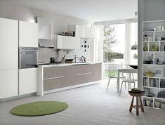 diseño de cocina gris y verde
