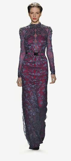 Carolina Herrera - Fall 2013 - Amethyst floral lace dress with beaded shoulder detail and amethyst pony beaded belt