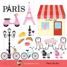 Paris Clipart Paris Clip Art Eiffel Tower by doodlebeestudios