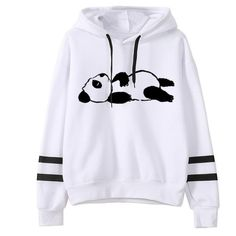 Samojoy Striped Hoodies for Women, Panda Print Cute Pullover Hooded Sweatshirt Crewneck Long Sleeve Winter Outfit Tops Fashion Casual, Trendy Fashion, Cute Bear, Basic Hoodie, Lightin The Box, Casual Sweaters, Hooded Sweatshirts, Fashion Sweatshirts, Winter