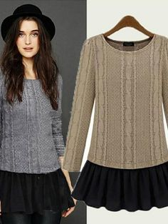 Elegant Chiffon Hem O-Neck Long Sleeve Knit Sweater