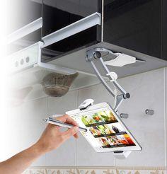 Kitchen Desks, Kitchen Gadgets, New Kitchen, Ipad Stand, Tablet Stand, Ipad Wall Mount, Ipad Holder, Dish Racks