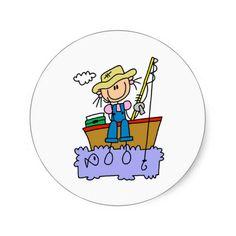 Stick Girl Fishing Round Sticker