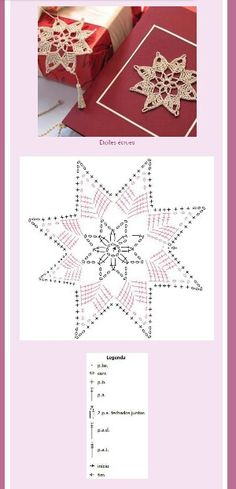 Star or Snowflake Ornament Crochet Thread Patterns, Crochet Snowflake Pattern, Crochet Motifs, Crochet Snowflakes, Crochet Diagram, Crochet Chart, Filet Crochet, Crochet Doilies, Crochet Flowers