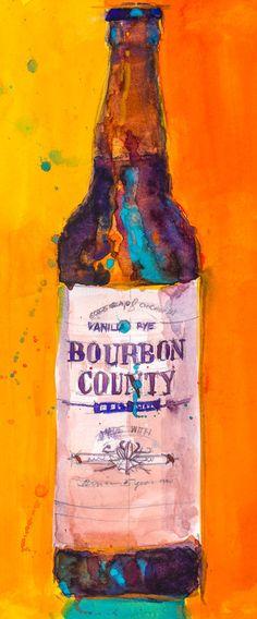 Bourbon County Vanilla Rye   Art Print from Original by dfrdesign