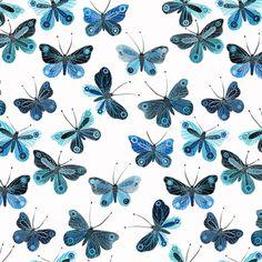 Moody Blues Voile- Butterflies (Geninne for Cloud 9 Fabrics) Blue Butterfly Wallpaper, Butterfly Art, Cotton Lawn Fabric, Poplin Fabric, Decoupage, Dressmaking Fabric, Scrapbooking, Moody Blues, Pretty Patterns