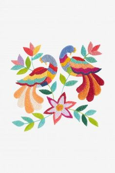 Folk Embroidery Patterns Free embroidery designs and cross stitch patterns Embroidery Hearts, Embroidery Flowers Pattern, Embroidery Motifs, Learn Embroidery, Embroidery Patterns Free, Hand Embroidery Designs, Stitch Patterns, Kashida Embroidery, Mexican Embroidery
