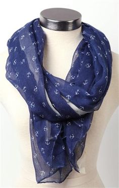 Deb Shops #scarf with #anchor design $10.39