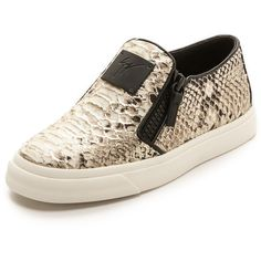 Giuseppe Zanotti Snake Embossed Zip Sneakers ($625) ❤ liked on Polyvore featuring shoes, sneakers, flats, multi, zipper sneakers, slip-on shoes, slip on flats, flat shoes and leather slip on shoes