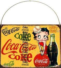 cartel chapa publicidades antiguas coca cola betty boop m507