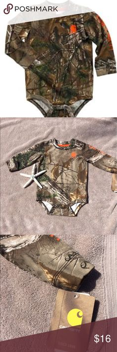 Carhartt Infant Camo Onesie This adorable camo onesie is perfect for the outdoors kind of kid. Features snaps at the shoulder for easy on and off. Snap bottom. Carhartt One Pieces Bodysuits