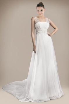 Lissome Column Wedding Gown in Beaded Applique Detail