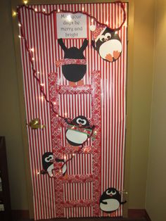 """Christmas / Holiday Door Decoration - """"May Your Days Be Merry and Bright"""" with penguins putting up lights. (Aimée Lefever creation!)"""