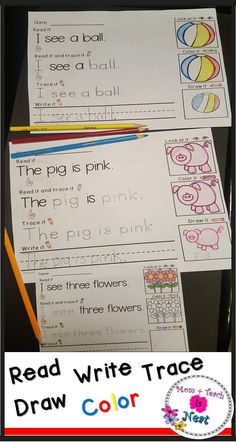 Practice reading, tracing, writing, and drawing with these kindergarten worksheets!