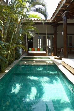 A Mediterranean Inspired Design Have you ever really thought about how many people see the outside of your home? Small Backyard Pools, Backyard Pool Designs, Small Pools, Swimming Pools Backyard, Swimming Pool Designs, Villa Design, Bali Style Home, Balinese Villa, Kleiner Pool Design