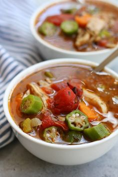 Mom's Chicken Gumbo Soup recipe is a heart warming & satisfying meal perfect for fighting off the winter colds and flu. Uses okra, tomatoes & gumbo file.