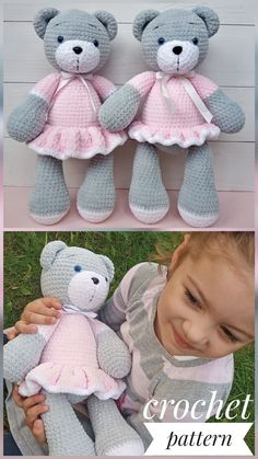 Crochet Teddy Bear Pattern, Crochet Animal Patterns, Amigurumi Patterns, Crochet Animals, Crochet Doll Tutorial, Crochet Dolls, Crochet Baby, Knitting Machine Patterns, Funny Toys