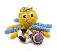 Crochet  baby RETTLE octopus teether teeth eco-friendly Baby