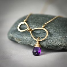 Infinity Birthstone - Simple Everyday Wire Wrapped Hammered Gold Fiilled Necklace with Purple Amethyst - Fabruary Birthstone