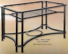Mesa de forja rectangular de 120x80cm.   www.rustiluz.com #mesa, #forja…