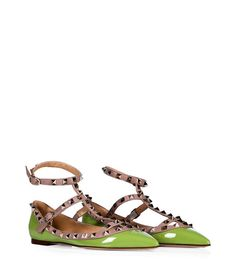 Shop for Apple Green/Powder Leather Rockstud Ankle Strap Flats by Valentino at ShopStyle. Ankle Strap Flats, Ankle Straps, Valentino Rockstud Flats, Rockstud Shoes, Valentino Shoes, Shoe Boots, Shoes Heels, Flat Shoes, Pumps