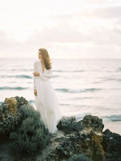 Beach wedding dress inspiration houghton NYC galina gown