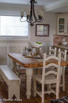 "Usually I save the best for last, but I love this table!  So here are the afters before! Don't you just LOVE the chopping block top, and the cute bench, and I LOVE the chairs! (what else is there right?) After my husband and I got this table into our dining area (which was not an easy task it is really really heavy and I apparently am not as buff and I ""claim"" to be.)  I decorated it to take pictures and I am sad I am selling it.  Look how great it looks with my floors!!  But I really love…"