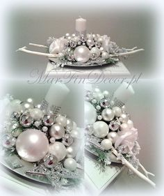 xx Silver Christmas, Victorian Christmas, Christmas Diy, Christmas Wreaths, Christmas Ornaments, Christmas Flower Arrangements, Holiday Centerpieces, Xmas Decorations, Deco Table Noel
