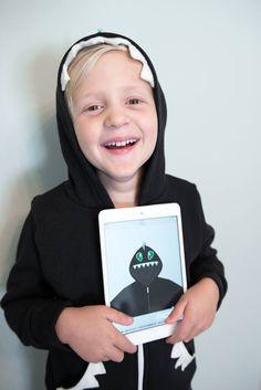 Original, customized kid's hoodie with handcrafted features! #momo #monsters #kidstyleDIY #parentapproved #hoodies #kidscreate #backtoschool #kidtech #kidgadgets