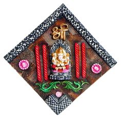 Decorative Resin Ganesha on Wooden Board - Wall Hanging (Poly Resin)