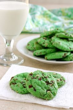 Mint chocolate chip cookies - perfect for a St. Patrick's Day treat. These would also be great at Christmastime.