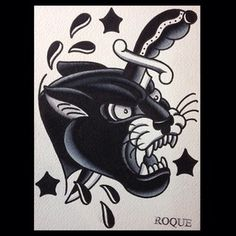 Another little to try out some stuff. Traditional Panther Tattoo, Traditional Tattoo Old School, Traditional Tattoo Design, Traditional Tattoos, Tattoo Sketches, Tattoo Drawings, Learn To Tattoo, Jaguar Tattoo, Skull Rose Tattoos