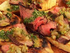 Flank Steak Crostini with Chimichurri and Vidalia Relish recipe from Bobby Flay via Food Network