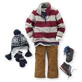 Take walks and the woods or trips to Grandma's in stride with this easy and versatile outfit. Striped fleece pullover and layered tees and lined pants keep him warm and ready for anything.
