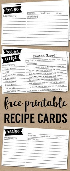 Free Printable Recipe Cards  Recipe Cards Card Templates And