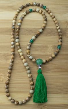 Wood Jasper with Green Aventurine Mala Necklace Meditation Beads