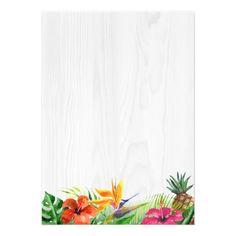 Tropical Floral Rustic Wood Flamingo Bridal Shower Card