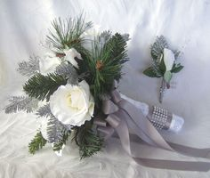 Reserved winter wedding bouquet and boutonniere holiday bridal bouquet white roses silver glitter pine, green pine winter wedding
