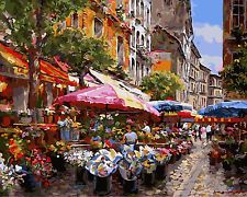 "Paint By Number Kit Oil Painting On Canvas 16""x20""- Flower Market"
