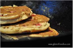 Gluten free multi-grain pancakes: made with buckwheat flour, millet flour, brown rice flour and oat bran