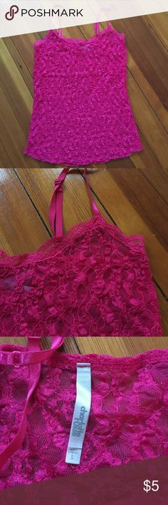 """🔴2for$5 Sale! Pink Lace Cami Bright pink lace cami. No lining, this is sheer. Adjustable straps. Has stretch. 17"""" armpit to hem. Charlotte Russe Tops Tank Tops"""