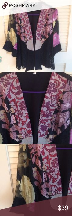 Tracy Collins multi colored lace jacket Tracy collins multi color lace jacket with floral panels and sheer lace sleeve Tracey collins Jackets & Coats