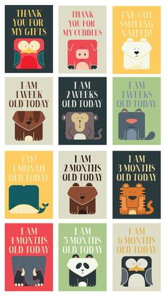 18 Baby Milestone cards.  Perfect gift for new parents. Super cute just like the babe! Dont forget to tag us on social media so we can see all