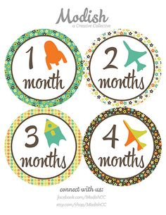 FREE GIFT Baby Month Stickers Boy Monthly Baby by ModishCC on Etsy