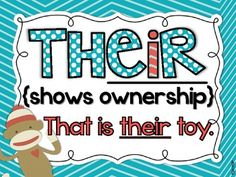 {FREE} Their, There and They're Posters--I still need these in my middle school classroom! Grammar And Punctuation, Teaching Grammar, Teaching Language Arts, Classroom Language, Teaching Writing, Speech And Language, Teaching Resources, Teaching Tools, Teaching Ideas