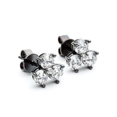 This little trio stud is the look of real with a twist. Three round Cubic zirconia set in Black rhodium plated sterling silver, with a butterfly fitting. Cluster Earrings, Stud Earrings, Rock Chic, Black Rhodium, Sterling Silver Earrings Studs, Simple Style, Jewelry Design, Butterfly, Beautiful