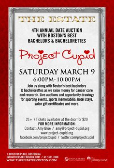 Project Cupid's 4th Annual Date Auction 3-9-13