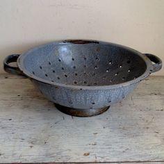 vintage gray enamel colander by ImSoVintage on Etsy, $22.00