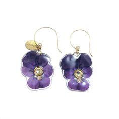 小さなビオラピアス 濃紫